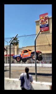 Flying Robby Gordon in his truck