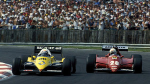 Alain Prost (F), Renault RE 40 B and RenÈ Arnoux (F), Ferrari 126 C3 at Silverstone during the British Grand Prix 1983.